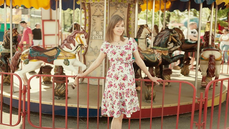 Pregnant, Summer, Carousel, Park, City, Childhood, Girl